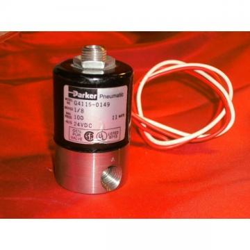 "PARKER G4115-0149 2-WAY SOLENOID VALVE 24VDC 11W 1/4"" NPT 100 PSI NC G41150149"
